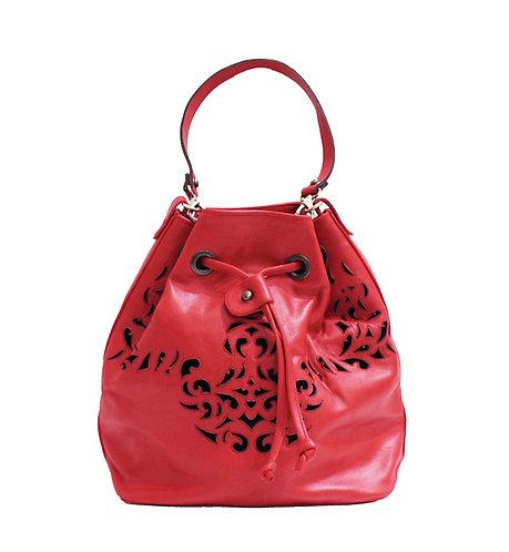 Fire Red Leather Lasercut Handbag