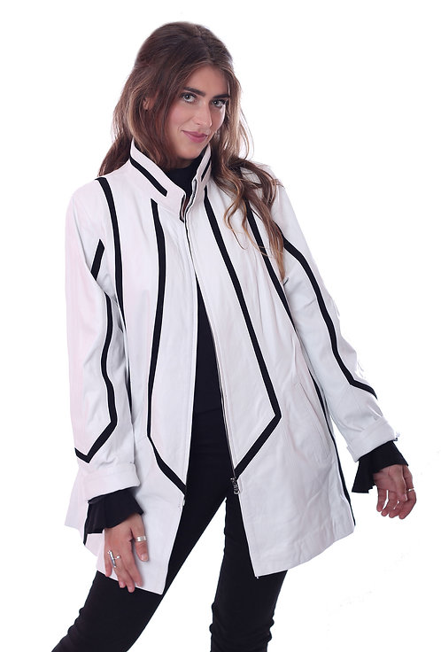 Leather Swing Coat - Off White