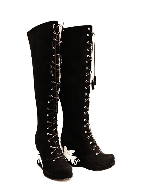 Black Suede Lace Up Front - OTK Wedge