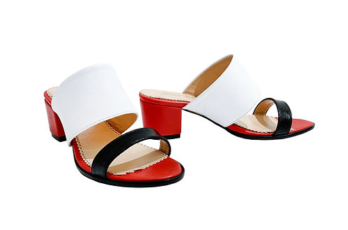 Black White Red Leather - Mule Sandals