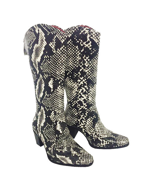 Black and White Python Embossed Leather - Cowboys