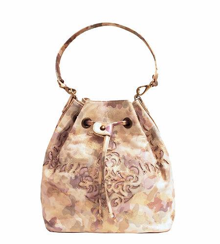 Gold Camo Leather Lasercut Handbag