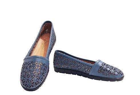 Blue Leather Laser Cut - Loafer