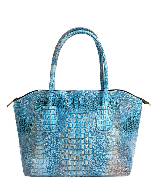 All Turquoise Blue Python Handbag