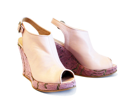 Pink Leather Zari - Ankle Wedge