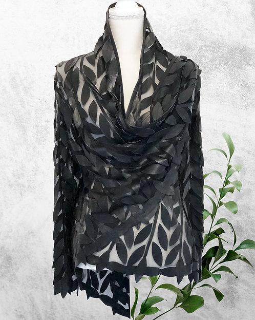 Leather Mesh Short Jackets - Black Leaf