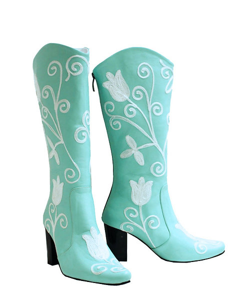 Teal Leather Embroidered - Cowboys