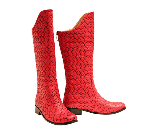 Red Leather Black Honeycomb - Gladiator Riding