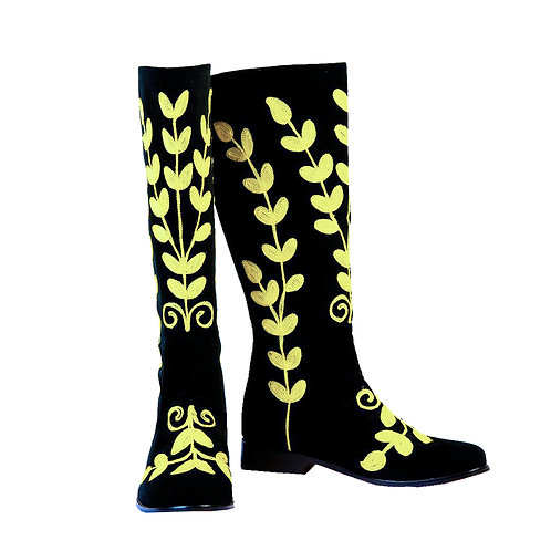 Black Suede Yellow Embroidery - Riding