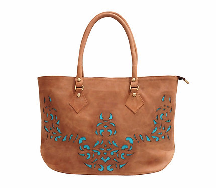 Brown Derby Leather Lasercut Handbag