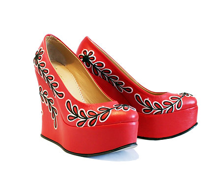 Red Black and White Leather - Shoes Wedge