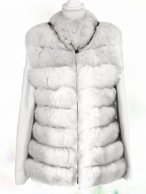 White Fox Fur Leather Removable Arms