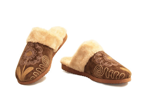 One of a Kind Tan Suzani Uptown - Slippers
