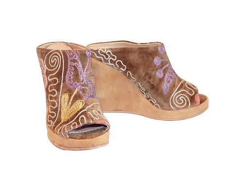 One af a Kind Tan Suzani - Slip On Wedge