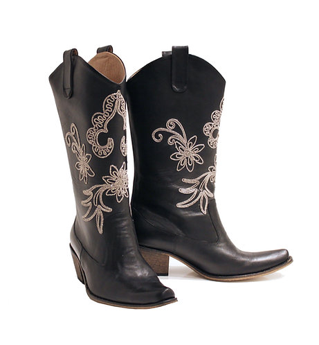 Black Leather Embroidered - Pull On Cowboys