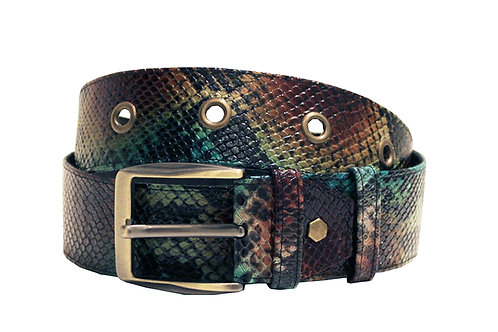 Leather Python Adjustable Jean Belt