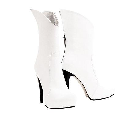 White Leather Posh - Stiletto