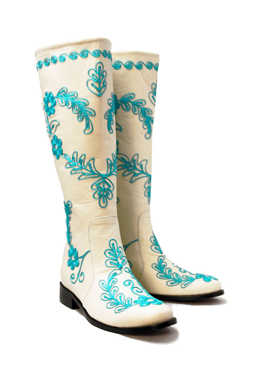 Cream Leather Turquoise Love - Riding