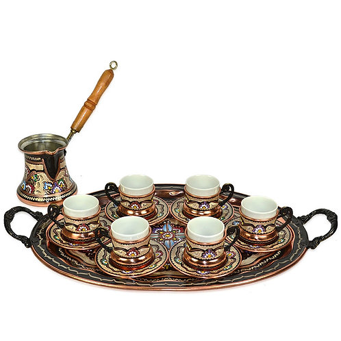 Turkish Coffee Set of 6 - Handetched Copper