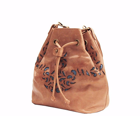Brown Derby Leather Lasercut Handbag