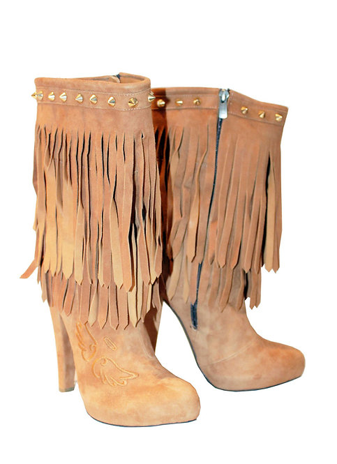 Suede Tan Fringe Angel & Devil - Chunky