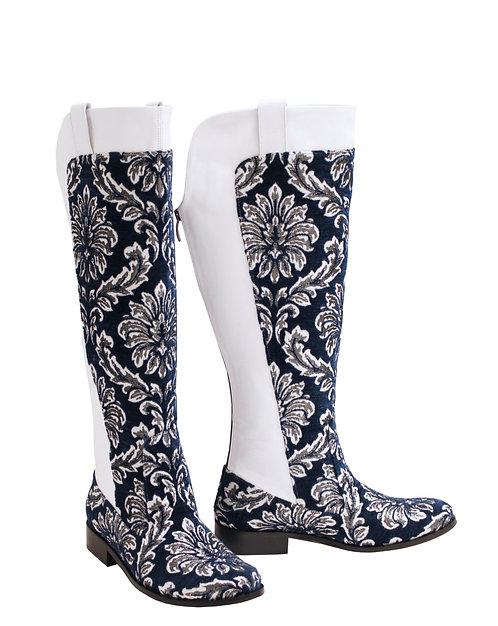 White Leather Navy Damask - Western Riding