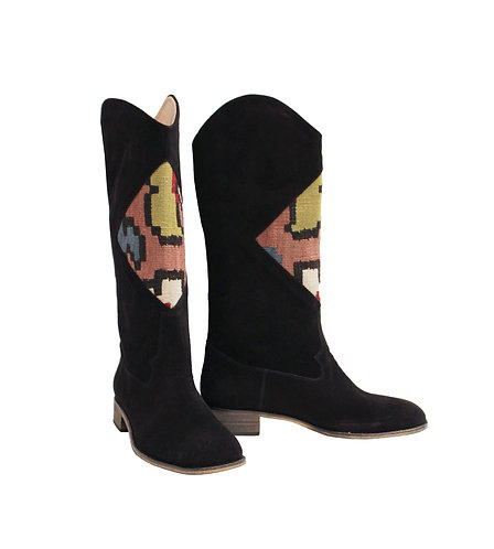 Kilim Black Suede - Western Pull On Riding