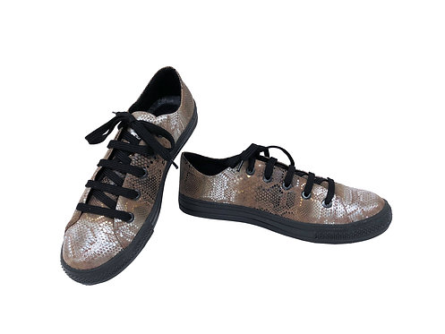 Silver Python Embossed Leather - Sneaker