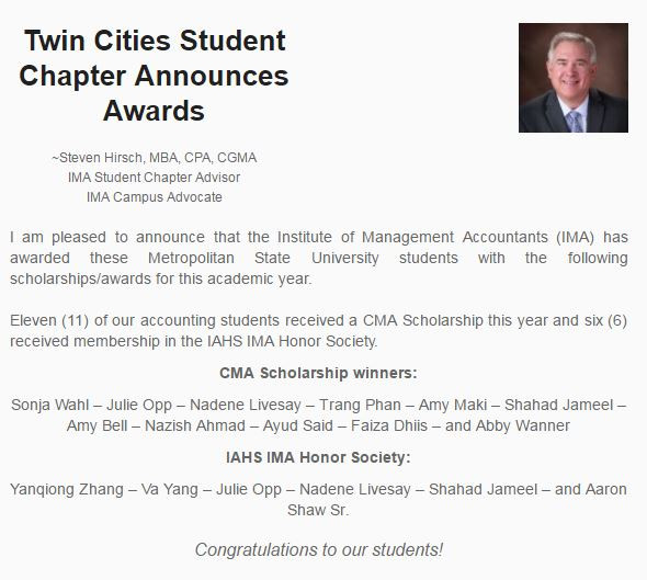 Twin Cities Student Chapter Awards