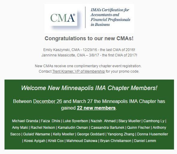 New CMAs and Members