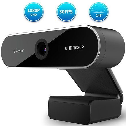 1080p Webcam with Microphone&Privacy Cover