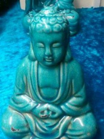 Blue Ceramic Sitting Buddha