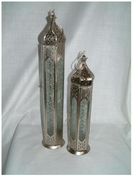 Metal & Glass Lantern Candle Holder