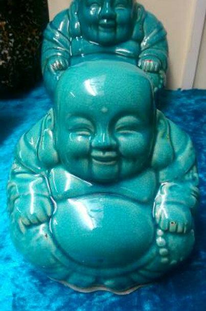 Blue Ceramic Laughing Buddha