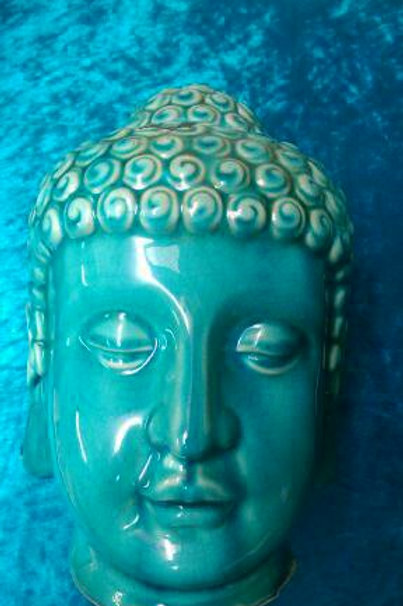 Blue Ceramic Buddha Head