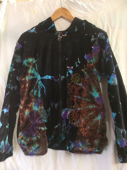 Embroidered Tie Dye Velvet Zipped Hooded Jacket
