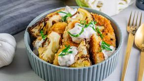 Crispy kylling med bakt blomkål og dressing