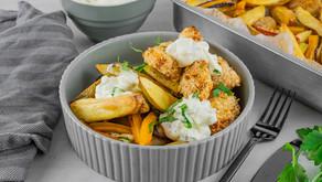 Sprøstekt kylling med bakte grønnsaker og hjemmelaget remulade