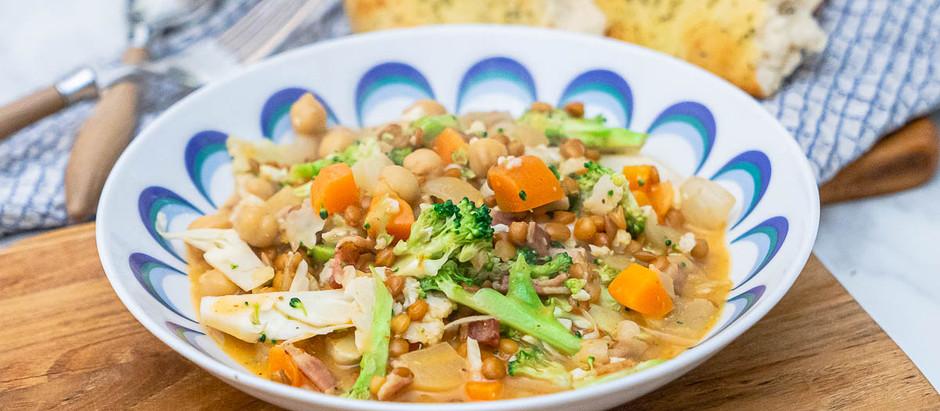 Grønnsakgryte med kokosmelk og red curry