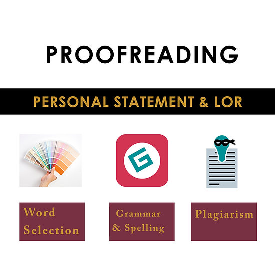 Personal Statement  or LOR Proofreading