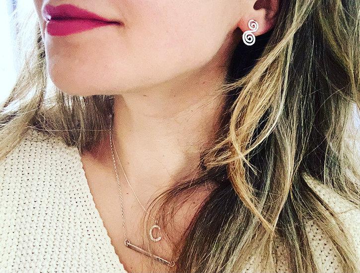 Double Swirl Stud Earrings