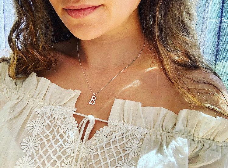 Hammered Letter B Necklace