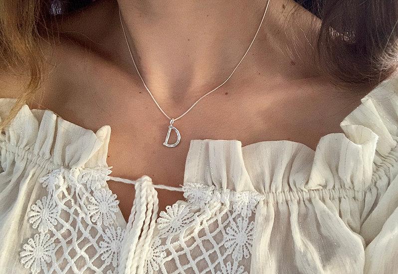 Hammered Letter D Necklace