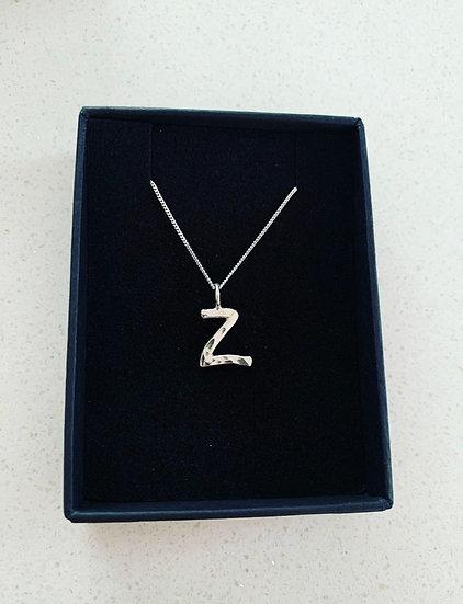 Hammered Letter Z Necklace