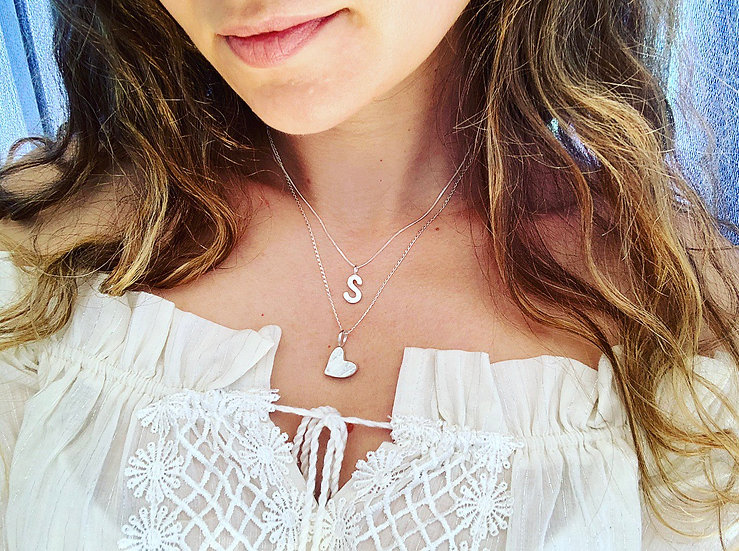 Hammered Letter S Necklace