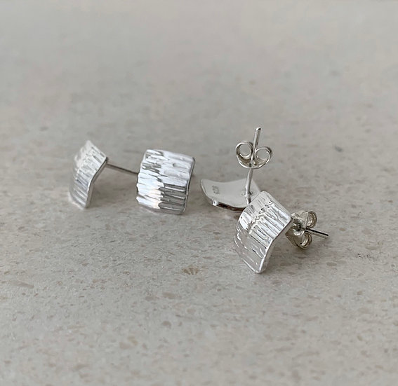 Hammered Square Stud Earrings
