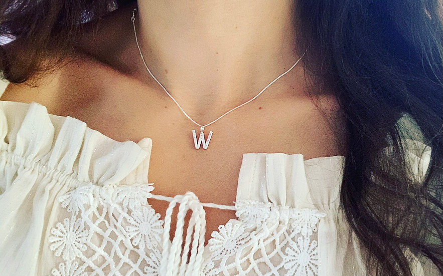 Hammered Letter W Necklace