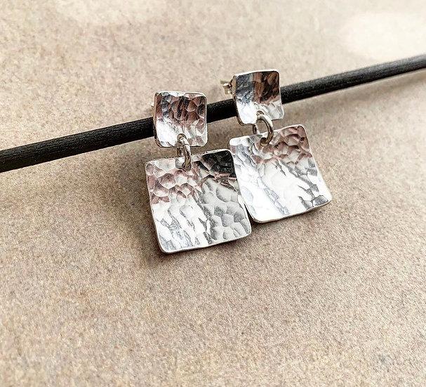 Double Square Drop Earrings