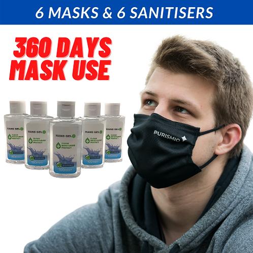 6 x '60 wash' Masks & 6 x 100mlm Sanitiser