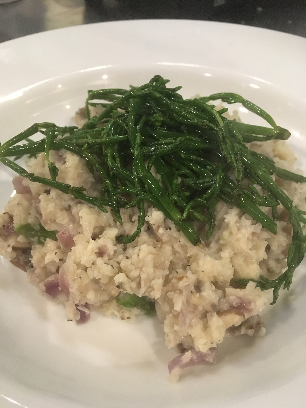 Cauliflower Rice with Asparagus and Mushrooms plus samphire